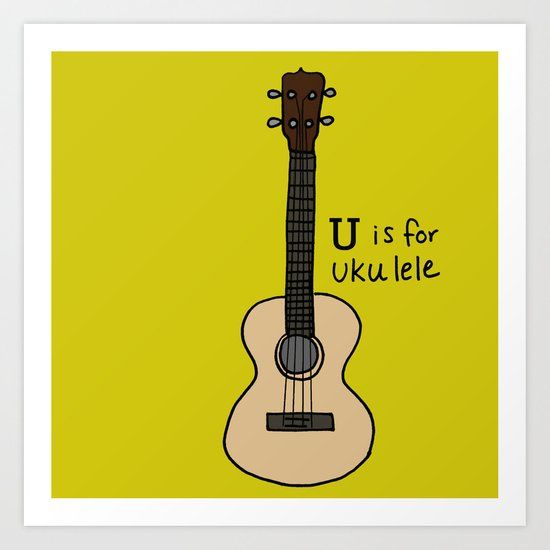 U is for Ukulele Art Print