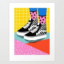 Steezy - retro shoes art print, memphis art print, skater, skateboarding, sneakers, old skool Art Print