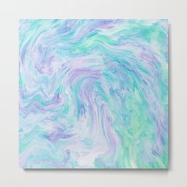 Turquoise Fantasy Marble Metal Print