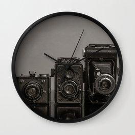Vintage Cameras - Black Grey Wall Clock
