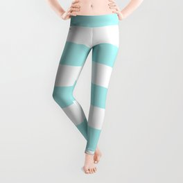 Pale turquoise - solid color - white stripes pattern Leggings