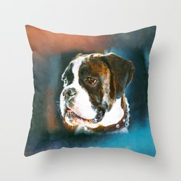 Boxer Dog Portrait  Watercolor Digital Art Throw Pillow