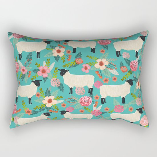 Sheep farm rescue sanctuary floral animal pattern nature lover vegan art Rectangular Pillow by ...