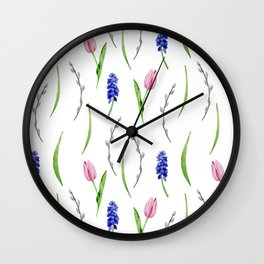 Seamless pattern with watercolor  flowers, tulips, muscari Wall Clock