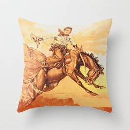 Vintage Western Cowboy On Bucking Horse Throw Pillow