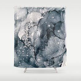 Icy Payne's Grey Abstract Bubble / Snow Painting Shower Curtain