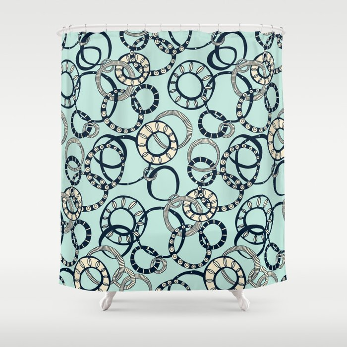 Honolulu hoopla pale blue Shower Curtain