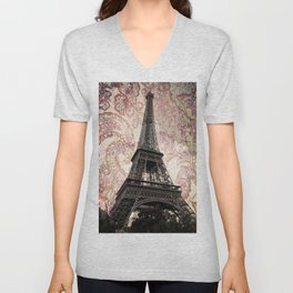 Floral Eiffel Tower in Paris, France Unisex V-Neck