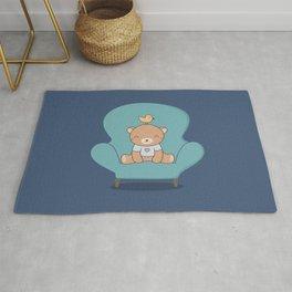 Kawaii Cute Teddy Brown Bear On A Sofa Rug