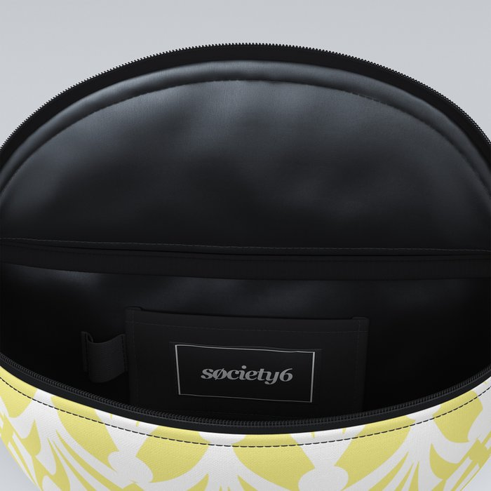 Decorative Plumes - White on Lemon Sherbert Fanny Pack