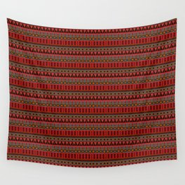 Aztec Tribal Motif Pattern in Red Mustard Salmon and Charcoal Wall Tapestry