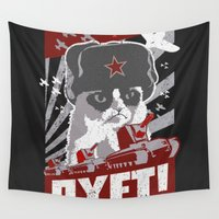 soviet Wall Tapestries featuring grumpy soviet by tshirtsz