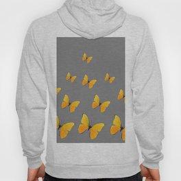 YELLOW BUTTERFLIES CHARCOAL GREY ART Hoody