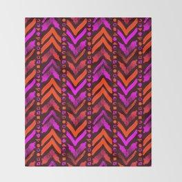 Tribal Scribble Kilim in Neon Coral + Brown Throw Blanket
