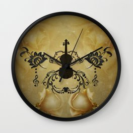 Wonderful violoin with elegant floral elements Wall Clock