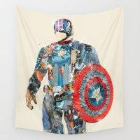 america Wall Tapestries featuring modern capt america by bri.buckley