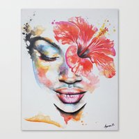 hibiscus Canvas Prints featuring Hibiscus by Maria Lozano - Art