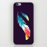 nursery iPhone & iPod Skins featuring Feather by Freeminds