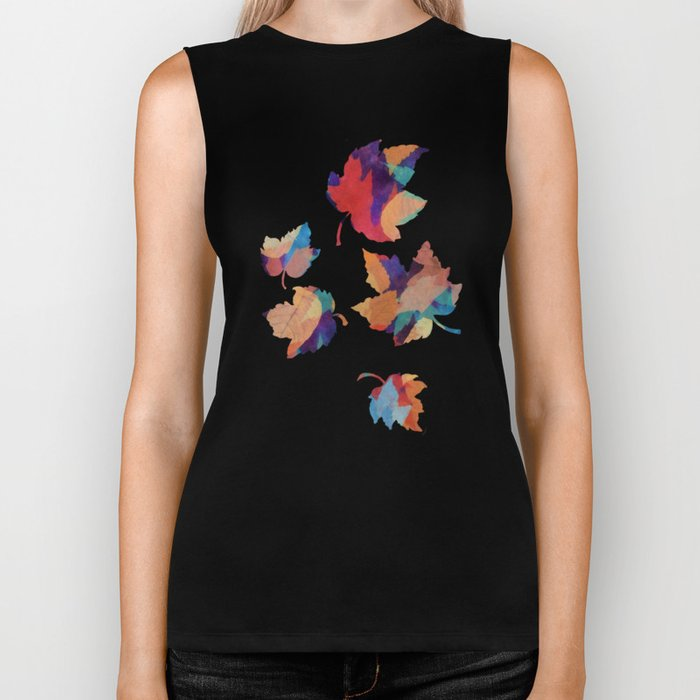 Colorful fallen leaves Biker Tank