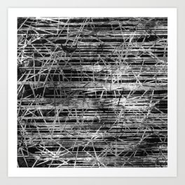 Modern Black and White Etching Abstract Lines Art Print