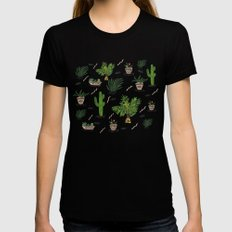 PLANTS ARE MY FRIENDS Womens Fitted Tee SMALL Black
