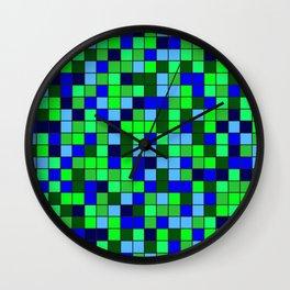 Aqua Squares Wall Clock