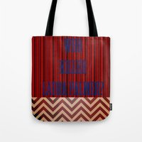 laura palmer Tote Bags featuring Who Killed Laura Palmer? by KP Designs