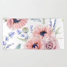 Fall Country Flowers Beach Towel
