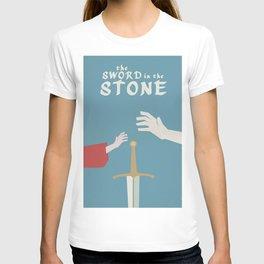 The sword in the stone, minimalist movie poster, animated film, King Arthur, Merlin, retro playbill T-shirt
