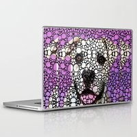 pit bull Laptop & iPad Skins featuring Pit Bull Stone Rock'd Art By Sharon Cummings by Sharon Cummings