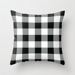 Buffalo Check Black White Plaid Pattern Throw Pillow