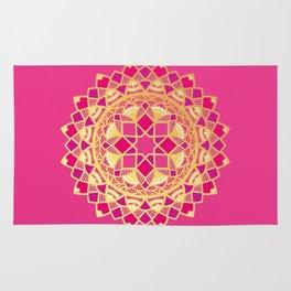 Mandala pink and gold star design Rug