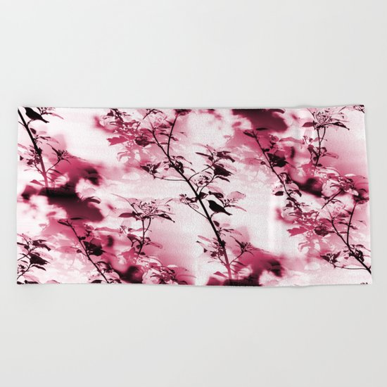 Silhouette of songbird on a branch Beach Towel