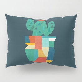 Blooming cactus in cracked pot Pillow Sham