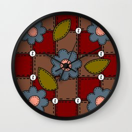Retro Doodle Flower Style Quilt - Dark Red Brown Blue Wall Clock