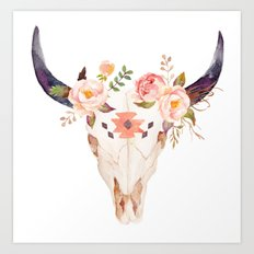 Bull Head Skull Boho Flowers Art Print