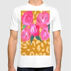 Floral and Tiger Print White Mens Fitted Tee MEDIUM