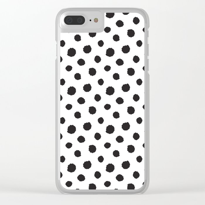 Minimal- black polka dots on white - Mix&Match with Simplicty of life Clear iPhone Case