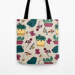 Plants addicted pattern, garden flowers autumn Tote Bag