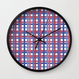 4th of July Gingham Wall Clock