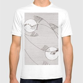 Two Moons Stencil,19th century Japan T-shirt