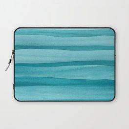 Teal Watercolor Lines Pattern Laptop Sleeve