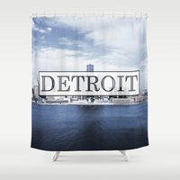 detroit Shower Curtains featuring Detroit Typography by Evan Smith