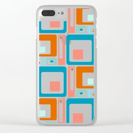 Retro Mid Century Modern Colorful Squares Clear iPhone Case