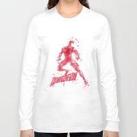 daredevil Long Sleeve T-shirts featuring Daredevil Superhero by Carma Zoe