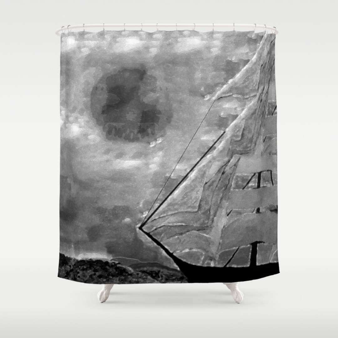 Jolly roger shower curtain - Jolly Roger Shower Curtain 42