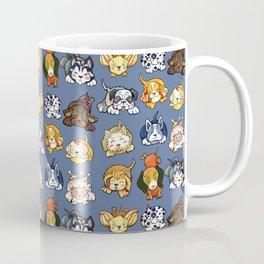 Kawaii Cute Dogs on Blue by dotsofpaint Coffee Mug