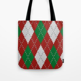Knitted argyle Christmas sweater pattern on red Tote Bag