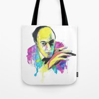 roald dahl Tote Bags featuring Roald Dhal Watercolor by Enerimateos