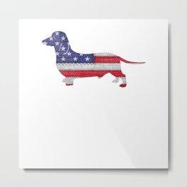 Patriotic MINIATURE DACHSHUND American Flag Vintage Gift T-Shirt Metal Print